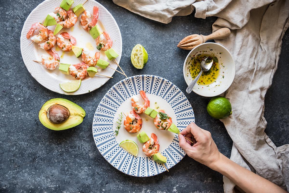 Spiedini di gamberi e avocado - Ricette light - Melarossa